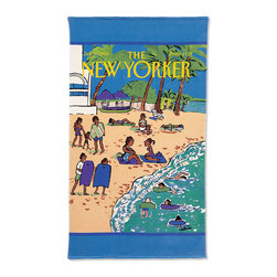 "Frontgate - New Yorker Beach Scene Beach Towel - Vintage covers from the archives of Conde Nast are reproduced on these color graphic towels. The reversible towel features the colorful graphic imprinted on silky cut pile and reverses to a plush terry back for superior absorbency. Generous 40"" x 70"" size . Reverse to a solid-color back . 450 grams per square meter results in superior plushness and absorbency. Preshrunk cotton ensures towels retain their full size . Double-stitched edges along all sides for hotel laundry durability . Machine wash and dry . Wash with like colors in cold water; do not bleach; tumble-dry low."