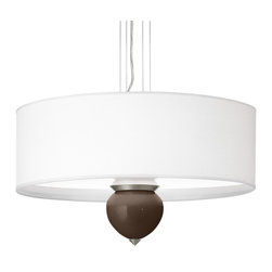 """Color Plus - Contemporary Carafe Cleo 24"""" Wide Pendant Chandelier - Color + Plus designer pendant chandelier. With exclusive Carafe brown color glass font. White canvas drum shade. Brushed nickel finish accents. 1/8"""" acrylic diffuser inside shade. Four maximum 75 watt or equivalent bulbs (not included). Overall 24"""" wide 14"""" high. Shade only is 24"""" wide 8"""" high. Glass font only is 5 3/4"""" wide 6"""" high. Includes 10 feet cable and 12 feet wire. 6"""" wide canopy.  Color + Plus designer pendant chandelier.  With exclusive Carafe brown color glass font.  Hand-crafted in California.  White canvas drum shade.  Brushed nickel finish accents.  1/8"""" acrylic diffuser inside shade.  Four maximum 75 watt or equivalent bulbs (not included).  Overall 24"""" wide 14"""" high.  Shade only is 24"""" wide 8"""" high.  Glass font only is 5 3/4"""" wide 6"""" high.   Includes 10 feet cable and 12 feet wire.  6"""" wide canopy."""
