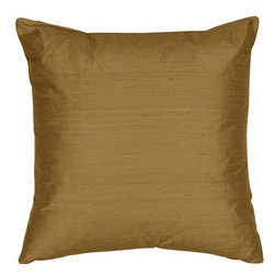 The Silk Group - Light Olive 18x18-Inch Silk Dupioni Square Poly Insert Decorative Pillow - - Handcrafted in the USA these decorative pillows are ideal for adding that special finishing touch to any space. Available in over 100 colors several of them can be combined for a grouping of complementary colors or contrasting shades. They feature 100% Grade A Silk Dupioni the finest highest quality most exquisite silk fabric on the market. A high quality knit backing is permanently bonded to the back of the fabrics used in our pillows. The knit backing adds body increased stability and longevity to the pillow. An invisible color-coordinated zipper is discretely placed on the bottom edge of the pillow so both faces of the pillow are able to be displayed. The pillow inserts we use are over-sized so our pillows will always have that desirable high soft and fluffy appearance. Our pillows are available without the insert too if you prefer to use your own. The fabric face has been treated with the most durable and permanent stain moisture and UV repellants available. This provides long lasting protection from water alcohol and oil-based stains as well as resistance from fading and discoloring over time.  - Fill Material: Down  - Dry Clean Only The Silk Group - SQ_Dup_Sol_Light_Olive_18x18_Poly
