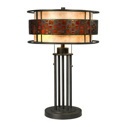 Z-Lite - Z-Lite Z14-50TL Oak Park 2 Light Table Lamps in Java Bronze - The Oak Park family finished in Java Bronze offers clean lines with simple, geometric forms to show true craftsman�s styling. This 2 Light Table Lamp is finished in Java bronze paired with White and Amber Micca.