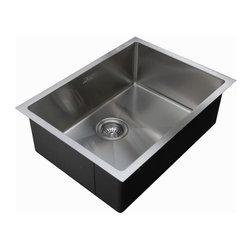 """Ukinox - Ukinox RS558 Undermount Single Bowl Stainless Steel Kitchen Sink - Ukinox's RS558 sink seamlessly blends superior functionality with a beautifully modern design. This popular micro series sink is a hand-made undermount sink featuring a slightly curved 15-degree radius corner that allows for easier cleaning, while still providing the sharp angles like the pros use. Features: Premium single bowl stainless steel kitchen sink. Sound absorbing pads and special paint applied to the underside of the sink to dampen sound. Fine quality sink bowl formed of 18 gauge Type 304 18/10 nickel bearing stainless steel. Made in Europe. Sinks include all basket strainers, mounting hardware and cut-out template. Standard 3-1/2"""" drain opening compatible with most garbage disposal systems. Specifications: Total Product Length: 22 in. Total Product Width: 18 in. Sink Depth: 10 in. Sink Gauge: 18. Product Weight: 22 lbs. Material: Stainless Steel. Installation Type: Undermount. Number of Basins: Single Basin. cUPC Certified?: Yes."""