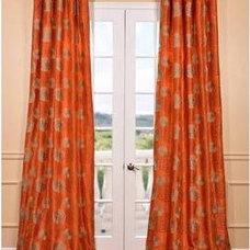 Curtains Zen Garden Harvest Orange Embroidered Faux Silk Curtain
