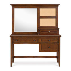 Magnussen - Magnussen Furniture Next Generation Riley Desk with Vanity Mirror in Cherry - The Riley bedroom collection is crafted of gorgeous cathedral cherry veneer and antique brass hardware, giving any childs bedroom a warm and welcoming mood.  Modern features include a nightstand with charging station, touch lighting and night light for added functionality.  The bed comes with a built-in bookcase that can be used to store your kids books and make bedtime reading within reach.