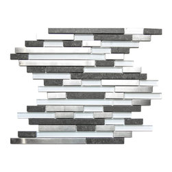 Eden Mosaic Tile - Modern Random Mix Steel - Glass - Ceramic I, Sheet - This ultra modern tile is comprised of various sizes of stainless steel white glass and dark gray ceramic tile with a stone effect. The result is a visually stunning array of colors and textures which will surely make your wall pop. Use this steel and glass mixed mosaic on kitchen backsplashes bathroom walls fireplaces and even accent walls. The tiles in this sheet are mounted on a nylon mesh which allows for an easy installation. Imported.