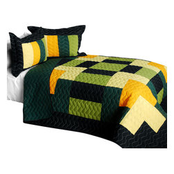 Blancho Bedding - [Matcha] Cotton Vermicelli-Quilted Patchwork Geometric Quilt Set-Queen - The [Matcha] Cotton Vermicelli-Quilted Patchwork Geometric Quilt Set-Queen includes a quilt and two quilted shams. This pretty quilt set is handmade and some quilting may be slightly curved. The pretty handmade quilt set make a stunning and warm gift for you and a loved one! For convenience, all bedding components are machine washable on cold in the gentle cycle and can be dried on low heat and will last for years. Intricate vermicelli quilting provides a rich surface texture. This vermicelli-quilted quilt set will refresh your bedroom decor instantly, create a cozy and inviting atmosphere and is sure to transform the look of your bedroom or guest room. (Dimensions: Full/Queen quilt: 90.5 inches x 90.5 inches; Standard sham: 24 inches x 33.8 inches)
