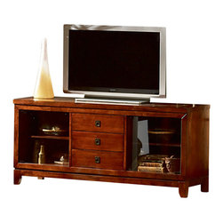 Steve Silver - Davenport TV Stand - The Davenport TV Stand offers a beautiful cherry finish with slate inlay and comes together as the perfect blend of beauty and functionality. There is plenty of room to store all your TV components with two glass doors and three drawers.