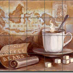 "Artwork On Tile - Ceramic Tile Mural Backsplash Kasun Kitchen Coffee Art 21.25"" x 17"" EC-TK002 - * 21.25"" w x 17"" h x .25"" Ceramic Tile Mural on Architectural Grade, 4.25"" Tile w/Satin Finish"