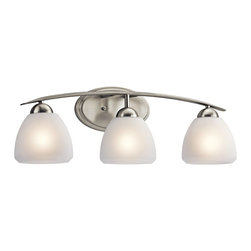 KICHLER - KICHLER 45119NI Calleigh Modern / Contemporary Bathroom / Vanity Light - This 3 light bath light from the Kichler Calleigh Collection features satin etched goblets of cased opal glass balancing on an arched and tapered arm in Brushed Nickel providing a clean, crisp contemporary flair. Width: 26, Height: 8.5, Extention: 7, Height from Center of Wall Opening: 2.5. Uses 3 100W max bulbs. May be installed with the glass up or down. Rated for damp locations.