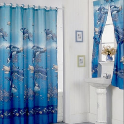 None - Aquarium Blue Shower Curtain Set and 4-piece Window Set - Bring the beauty of the sea to your bathroom with this aquarium blue shower curtain and four-piece window set. Constructed of PVC and polyester,the items in this set feature a beautiful,action-packed image of swimming fish and dolphins.