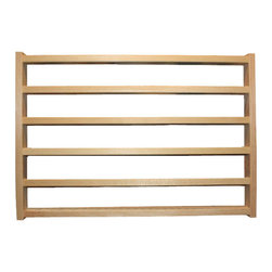 Train Rack Basic - Thomas Train Wooden Storage Display Wall Rack Shelf, set of 3 - Hold up to 35 Thomas the tank or Brio wooden trains on this hand made rack. The solid wood constuction will last a lifetime of use. This is my most popular Rack. 23x15-1/2x1-3/4