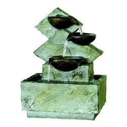 Kelkay - Lodore Fountain - Kelkay Miniature Fountains are the ideal gift and great for any home or patio. They create a calm and relaxing environment and help as a natural humidifier when in indoors. Beautifully detailed designs with low voltage pumps included. Durable resin-stone construction designed for both outdoor and indoor use. All Kelkay easyfountains are self contained with no need for a permanent water supply. They are easy to unpack and assemble needing no tools. The fountain in a box!  This item cannot be shipped to APO/FPO addresses. Please accept our apologies.