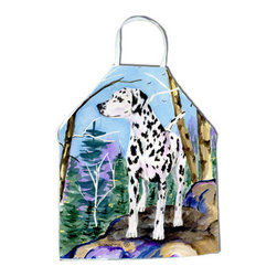Caroline's Treasures - Dalmatian Apron - Apron, Bib Style, 27 in H x 31 in W; 100 percent  Ultra Spun Poly, White, braided nylon tie straps, sewn cloth neckband. These bib style aprons are not just for cooking - they are also great for cleaning, gardening, art projects, and other activities, too!