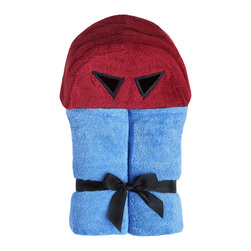 "Yikes Twins - Superhero Hooded Towel - Your superhero will be ready to save the day, in our red and blue hooded towel.  (51""x27"" bottom towel, plus hood). Towel size 27""x51"", hood size 10""x 8.5"".   Machine wash.  Suitable for children ages 2 -8yrs"