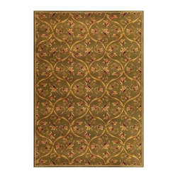 """Kas Rugs - Area Rug: Floral Scroll Green 2' 3"""" x 3' 3"""" - Shop for Flooring at The Home Depot. This series uses heat-set yarns and hand carved with specific attention to detail. This line features classic Aubusson floral patterns, a look usually found only in traditional hand knotted collections. This timeless classic has been designed with today's colors in mind, bringing a beautiful blend of yesterday and today in your home."""