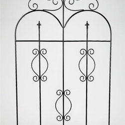 AA Importing - Metal Garden Fence Gate in Black Finish w Fin - Can be use as a decorative piece or as a garden border. Metal. 42 in. L x 0.05 in. W x 82 in. H (32.5 lbs.)