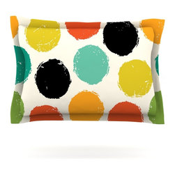 """Kess InHouse - Daisy Beatrice """"Retro Dots"""" Circles Pillow Sham (Cotton, 40"""" x 20"""") - Pairing your already chic duvet cover with playful pillow shams is the perfect way to tie your bedroom together. There are endless possibilities to feed your artistic palette with these imaginative pillow shams. It will looks so elegant you won't want ruin the masterpiece you have created when you go to bed. Not only are these pillow shams nice to look at they are also made from a high quality cotton blend. They are so soft that they will elevate your sleep up to level that is beyond Cloud 9. We always print our goods with the highest quality printing process in order to maintain the integrity of the art that you are adeptly displaying. This means that you won't have to worry about your art fading or your sham loosing it's freshness."""