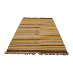 Durie Kilim Hand Woven Striped Reversible Flat Weave 5'X7' 100% Wool Rug SH6969 - Soumaks & Kilims are prominent Flat Woven Rugs.  Flat Woven Rugs are made by weaving wool onto a foundation of cotton warps on the loom.  The unique trait about these thin rugs is that they're reversible.  Pillows and Blankets can be made from Soumas & Kilims.