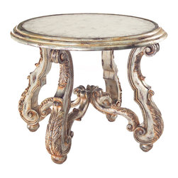 John Richard - John Richard Arezzo Side Table EUR-03-0372 - The eglomise top is framed by a deep three reed molding, below which the acanthus leaf carved scroll legs are enhanced by the aged silver gilt finish with burnished linen accents.