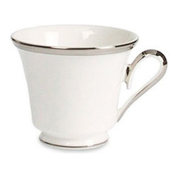 Lenox - Lenox Solitaire White Teacup - 6224257 - Shop for Drinkware from Hayneedle.com! Make teatime even more enjoyable with the Lenox Solitaire White Teacup. This cup's comfortable handle fits perfectly in your hand offering smooth enjoyment. Serve your favorite tea in this delicate teacup and we're sure you'll experience an added dose of serenity. The beautiful white coloring is accented by platinum banding which adds a refined touch. Crafted of fine china this piece is dishwasher-safe for added convenience.About LenoxThe Lenox Corporation is an industry leader in premium tabletops giftware and collectibles. The company markets its products under the Lenox Dansk and Gorham brands propelled by a shared commitment to quality and design that makes the brands among the best known and respected in the industry. Collectively the three brands share 340 years of tabletop and giftware expertise.