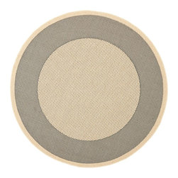 """Safavieh - Indoor/Outdoor Courtyard Round 5'3"""" Round Grey - Cream Area Rug - The Courtyard area rug Collection offers an affordable assortment of Indoor/Outdoor stylings. Courtyard features a blend of natural Grey - Cream color. Machine Made of Polypropylene the Courtyard Collection is an intriguing compliment to any decor."""