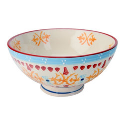 Signature Housewares Incorporated - 11.5 in. Bowl in Multicolor - Set of 4 - Set of 4. Hand painted. Lead free. Microwave and dishwasher safe. Durable. Easy to care. Made from stoneware. 11.5 in. Dia. x 3.25 in. H (4.25 lbs.)