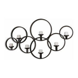 """Uttermost - Kadoka Decorative Wall Candle Holder - This decorative wall candle-holder is made of hand forged metal with a rustic black finish. Included are seven 3"""" distressed ivory candles."""