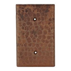 Premier Copper Products - Blank Copper Switch Plate Cover - Two Hole - Blank Hand Hammered Copper Switch Plate Cover