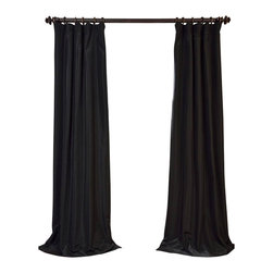 """Exclusive Fabrics & Furnishings - Black Blackout Faux Silk Taffeta Curtain - SOLD PER PANEL . 56% Nylon 44% Polyester .Blackout Curtain - Lined (ivory color) & Interlined (black cotton flannel) . 3"""" Pole Pocket with Hook Belt .Dry Clean Only ."""