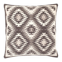 """Dash & Albert - Dash & Albert Nordic Kilim Wool Woven Pillow - Dash & Albert boasts a collection of polished, practical and durable rugs and accessories that deliver a finished look to any home. A blend of traditional Scandinavian and Persian design, the square Nordic Kilim throw pillow lends a living room or bedroom a rustic, charming design. This hand-woven wool accessory layers beautifully on a sofa, chair or bed with its neutral and charcoal gray geometric diamond print. Made from 83% wool and 17% cotton with a feather insert. Professional cleaning recommended. 26""""W x 26""""H."""