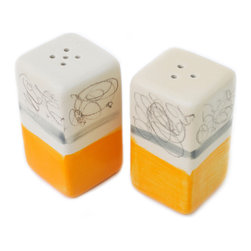 Gail Garcia Dinner-Ware - Salt and Pepper Shakers, Orange/Grey - Orange, Grey, Black Drawing