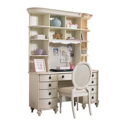 Lea Industries - Lea Emma's Treasures Desk w/ Hutch & Chair in Vintage White - Desk w/ Hutch & Chair in Vintage White belongs to Emma's Treasures Collection by Lea Inviting, casual and comfortable easily describes Emma's Treasures from Lea Furniture. Traditional styling mixed with a cozy time-worn appearance creates a collection of youth furniture sure to please any age girl. The distressed vintage white color finish, antiqued pewter-color hardware, the use of cane and crystal-cut mirrors all help create the shabby chic appeal of this group. Special features include vintage patterned drawer liners and hidden compartments on select pieces. Unique pieces include a vanity with bench, a mirrored door chest and a desk that can double as a larger vanity. Take a look at Emma's Treasures and create a room your child will treasure for years to come. And, as always, Emma's Treasures comes with the quality you expect from Lea Furniture. Safety is one of the key elements parents look for when buying products for their children. As a supplier of children's furnishings, we are committed to ensuring our products meet or exceed the safety requirements defined by the Consumer Product Safety Commission and the ASTM. Design and function combined with safety features makes the Emma's Treasures collection an ideal choice for any child's room.  Desk w/ Hutch (1), Chair (1)