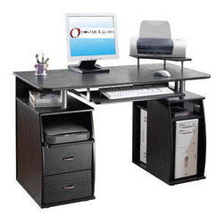 None - Executive Style Computer Desk - This stylish executive computer desk is the perfect addition to give any office a professional look. The desk has many storage spaces for organizing your office in a functional way. The keyboard shelf slides to allow for maximum comfort when typing.