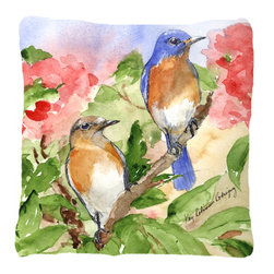 Caroline's Treasures - Bird - Blue Bird Fabric Decorative Pillow - Indoor or Outdoor pillow made of a heavy weight canvas. Has the feel of Sunbrella fabric. 14 inch x 14 inch 100% Polyester Fabric pillow Sham with pillow form. This pillow is made from our new canvas type fabric can be used Indoor or outdoor. Fade resistant, stain resistant and Machine washable.