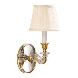 "Inviting Home - Brass and Crystal Sconce - one-light antique brass and crystal sconce; 6""W x 8-1/2""D x 14-1/2""H; One-light electrified solid brass sconce hand-crafted with solid crystal. Wall sconce has an antique finish and round piped fabric shades. Crystal wall sconce is designed for use with candelabra bulbs only. UL approved - dry location; hardwire; 1x candelabra bulb; bulbs not included."