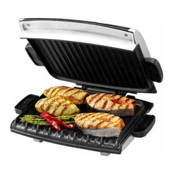 Applica - George Foreman Next Grilleration Jumbo Grill - Includes two drip trays to catch the fat and specially designed spatula. 96 sq. in. cooking surface. Contemporary design. Easy to clean with sponge. Removable grill plates with non-stick coating. Oversized LED readouts for variable temperature control and timer. 1 in. floating hinge. Warranty: One year. Silver metallic finishThis grill provides great options in healthy cooking lifestyle and cooking in minutes.