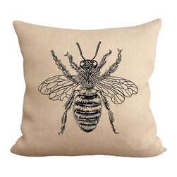 Fiber and Water - Honey Bee Pillow - A great rendition of a honey bee. A wonderful addition to the shabby chic home. This hand-printed piece of art has beautiful texture from a combination of natural burlap and water-based paints. Hand-pressed onto natural burlap using water-based inks.