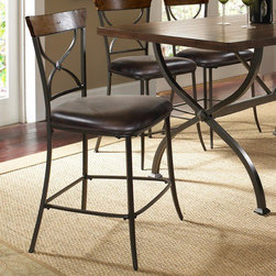 """Hillsdale - Cameron X-Back Non-Swivel Counter Stool in Distressed Chestnut Brown (Set of 2) - Features: -Set includes 2 X-back counter stools. -Cameron collection. -Wood accent finish: Distressed chestnut brown. -Metal frame finish: Distressed dark gray. -100% Polyester, dark brown, faux leather seat. -Some assembly required. -Seat height: 26"""". -Dimensions: 41.75"""" Height x 19.5"""" Width x 19.25"""" Depth."""