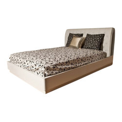 Beverly Hills Furniture Inc. - Glam Modern Platform Bed with Button Tufted Headboard, Queen - This unique Glam Modern Platform Bed with Button Tufted PU Headboard has white lacquer frame for an exceptional look.