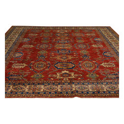 Hand Knotted Tribal Design Red Super Kazak Oriental Rug 9'x10' 100% Wool Sh18061 - Our Tribal & Geometric hand knotted rug collection, consists of classic rugs woven with geometric patterns based on traditional tribal motifs. You will find Kazak rugs and flat-woven Kilims with centuries-old classic Turkish, Persian, Caucasian and Armenian patterns. The collection also includes the antique, finely-woven Serapi Heriz, the Mamluk Afghan, and the traditional village Persian rug.