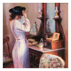 Steve Henderson Fine Art - The New Hat Artwork -- Original Oil Painting - Original oil painting on panel, 20 inches high x 20 inches wide. With gold-colored frame, included with purchase, finished size is 26 x 26. This is the original oil painting of a licensable work.
