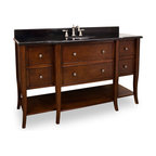 Hardware Resources - 60 in. Philadelphia Classic Vanity with Preassembled Top - Philadelphia Classic Vanity with Preassembled Top and Bowl from Lyn Design. This 60 1/2 inch solid wood single vanity has a rich chocolate brown finish to give this vanity an updated feel. This vanity features elegant tapered cabriole legs and rolled edge details for a more feminine look.  Six fully working drawers  the two center fitted around the plumbing  and open bottom shelf gives this vanity ample storage.  This vanity has a 2.5CM black granite top preassembled with an H8809WH (15 x 12) bowl  cut for 8 faucet spread  and corresponding 2CM x 4 tall backsplash.