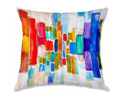 DiaNoche Designs - Pillow Woven Poplin by Lam Fuk Tim Color Blocks - Toss this decorative pillow on any bed, sofa or chair, and add personality to your chic and stylish decor. Lay your head against your new art and relax! Made of woven Poly-Poplin.  Includes a cushy supportive pillow insert, zipped inside. Dye Sublimation printing adheres the ink to the material for long life and durability. Double Sided Print, Machine Washable, Product may vary slightly from image.