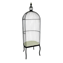 """Iron Birdcage Chair - This Iron Birdcage Chair is a truly unique piece of furniture that is sure to be a conversation starter! Finish is outdoor safe. These unique, hand-crafted accessories are the products of craftsmen working in cottage industries around the world. Dimensions: 28""""w x 22.5""""d x 88.5""""h (Seat) 26.5""""w x 20.5""""h"""