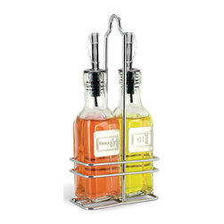 Cuisinox - Cuisinox Oil & Vinegar Bottle Set with Caddy - Add a little pizzazz to your kitchen with these gourmet bottles. It is ideal for your favorite olive oils and specialty vinegars. Use them for food preparation or directly on your table. Made of glass with a capped stainless steel pouring spout. Bottles feature  in. Oil in.  and  in. Vinegar in.  stainless steel labels on each respective bottle and inserted into a handy caddy. A French version and a larger size are both listed below.