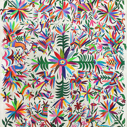"Flowers and Animals Otomi Tapestry - This ""Flowers & Animals"" Otomi tapestry is a kaleidoscope of stunning. I would love to see it on the wall in place of a headboard, or as a grand way to greet guests when they enter the house."