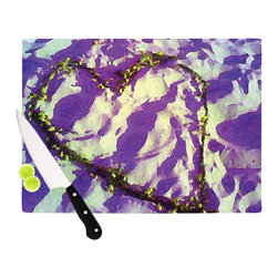 "Kess InHouse - Anne LaBrie ""Purple Tiger Love"" Purple Yellow Cutting Board (11"" x 7.5"") - These sturdy tempered glass cutting boards will make everything you chop look like a Dutch painting. Perfect the art of cooking with your KESS InHouse unique art cutting board. Go for patterns or painted, either way this non-skid, dishwasher safe cutting board is perfect for preparing any artistic dinner or serving. Cut, chop, serve or frame, all of these unique cutting boards are gorgeous."