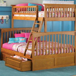 Atlantic Furniture - Columbia Twin Over Full Bunk Bed w Storage Dr - Finish: Caramel LatteNOTE: ivgStores DOES NOT offer assembly on loft beds or bunk beds. Designed for durability. Two raised panel drawers. Two 14 piece slat kits. Mortise and tenon construction. Twenty six steel reinforcement points. Guard rails match panel design. Compliance with ASTM F-1427 Standard Consumer Safety Specification for Bunk Beds and the Government Code of Federal Regulations 1213 and 1513. Warranty: One year. Made from eco-friendly solid hardwood. Clearance from floor without trundle or storage drawers: 11.25 in.. 80.5 in. L x 44.25 in. W x 68.13 in. H. Assembly Instruction-1. Assembly Instruction-2. Raised Panel Drawers Assembly Instructions. Bunk Bed Warning. Please read before purchase.
