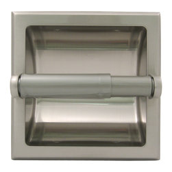 "Stone Harbor Hardware - Lakewood Recessed Paper Holder, Satin Nickel - Perfect for remodels and retrofitting, the Lakewood recessed paper holder measures 6  5/16"" by 6 5/16"" overall and 3 ¾"" from the back of the curve to the center of the paper tube. The paper holder is available in vintage bronze, satin nickel and polished chrome and features stamped steel construction for durability. The spring-loaded toilet paper tube matches the finish for a seamless look. Includes all necessary mounting hardware and an installation clamp for easy installation."