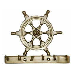 "Handcrafted Model Ships - Antique Brass Steering Wheel Key Rack 7"" - Antique Key Rack - The Solid Brass Steering Wheel Key Rack 7"" is the perfect addition for any nautical themed home. Handcrafted from solid brass, this Steering Wheel Key Rack 7"" is durable, functional and decorative. Easily mountable, display this decorative key hook to show those who visit your home affinity for the nautical sea-faring lifestyle."