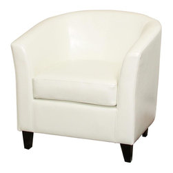 Best Selling Home - Preston Bonded Leather Club Chair - Stylish enhancement to any living room setting. Rounded and curvy. Beautiful and soft bonded leather that won't fade or crack. Padded arms, back, and fully stuffed seat cushion give the ultimate comfort. Pictured in White. 30-Day manufacturer's warranty. 30.5 in. L x 30.5 in. W x 28 in. HTransform any room to a stylish space with comfortable seating with the Preston Club Chairs. They give your guests a conversation piece as well as a place to relax and talk.